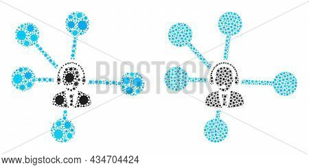 Vector Coronavirus Mosaic Operator Relations Combined For Hospital Posters. Mosaic Operator Relation
