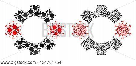 Vector Covid-2019 Mosaic Virus Nanobot Constructed For Pandemic Advertisement. Mosaic Virus Nanobot