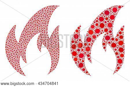 Vector Coronavirus Mosaic Fire Combined For Lockdown Illustrations. Mosaic Fire Is Based On Icon And