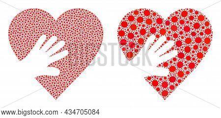 Vector Coronavirus Mosaic Hand Touch Heart Created For Clinic Posters. Mosaic Hand Touch Heart Is Ba