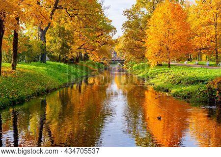 Obvodny Canal In Alexander Park In Autumn, Pushkin (tsarskoe Selo), Saint Petersburg, Russia
