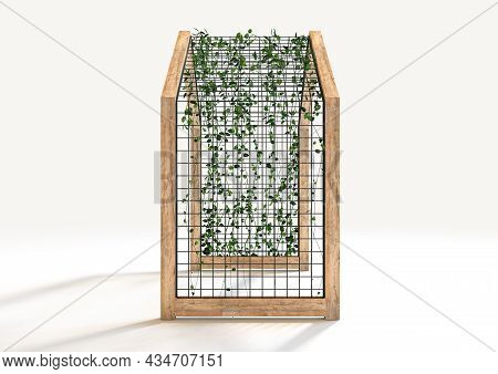 A Concept Of A Wooden Archway With Metal Trellis And A Creeper Plant Intertwined In It - 3d Render