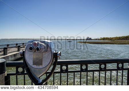 Fishing Pier At The Waterfront Park, In Charleston, South Carolina, Usa