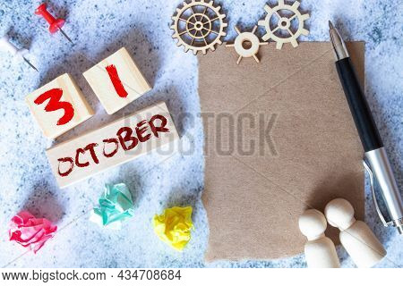 October 31St. Image Of October 31 Wooden Color Calendar On Blue Background. Autumn Day.