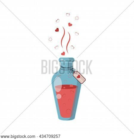 Love Potion. The Drink That Makes You Fall In Love With Yourself. Bottles Of Magic Elixir. Red Liqui