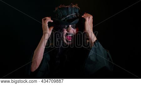 Sinister Old Woman In Costume Of Halloween Witch Screams From Stress Tension Problems Feels Horror H