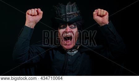 Sinister Old Man In Costume Of Halloween Witcher Screams From Stress Tension Problems Feels Horror H
