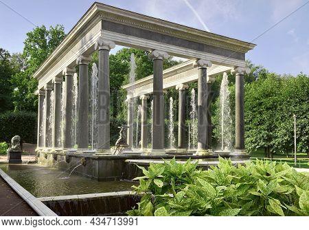 Peterhof/saint Petersburg/russia-09.01.2020: Nizhny Park. Lion Cascade In The Form Of A Marble Porti