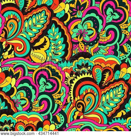 Bright Colorful Seamless Pattern With Floral And Plants Element In Psychedelic Vibrant Funky Style F