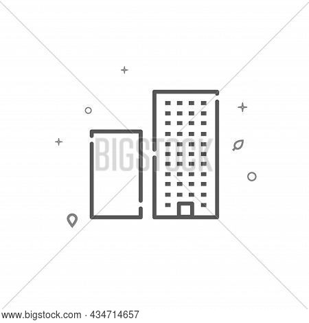 Housing Area Simple Vector Line Icon. Building Symbol, Pictogram, Sign Isolated On White Background.