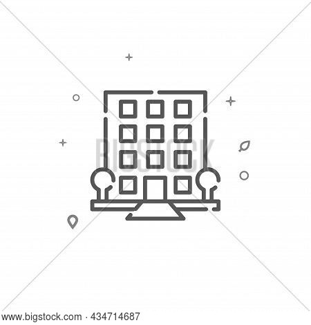 Luxury House, Hotel, Condo Simple Vector Line Icon. Building Symbol, Pictogram, Sign Isolated On Whi