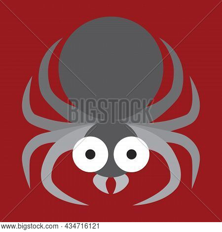 Cute And Funny Spider. Graphic Flat Arthropod Close-up. Spidery Silhouette. Traditional Scary Hallow