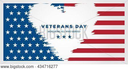 Veterans Day. Honoring All Who Served, Posters, Modern Design Vector Illustration