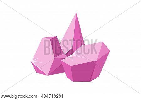 Crystals Broken Into Pieces. Smashed Ruby Crystals. Broken Gemstones Or Pink Rocks. Vector Illustrat