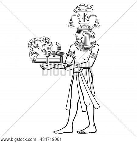 Animation Portrait: Egyptian God Hapi Presents River Gifts - Papyrus Flowers. God Of Fertility, Of W