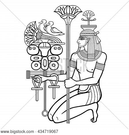Animation Portrait: Sitting  Egyptian God Hapi Presents River Gifts. God Of Fertility, Of Water, Of