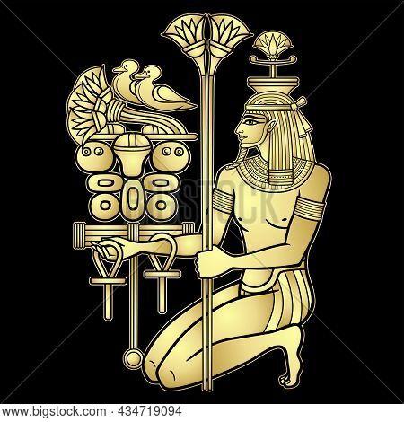 Animation Color  Portrait: Sitting  Egyptian God Hapi Presents River Gifts. God Of Fertility, Of Wat