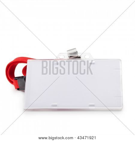 Blank ID or security card with red neck strap isolated on white. For adding your message or corporate information of your choice.