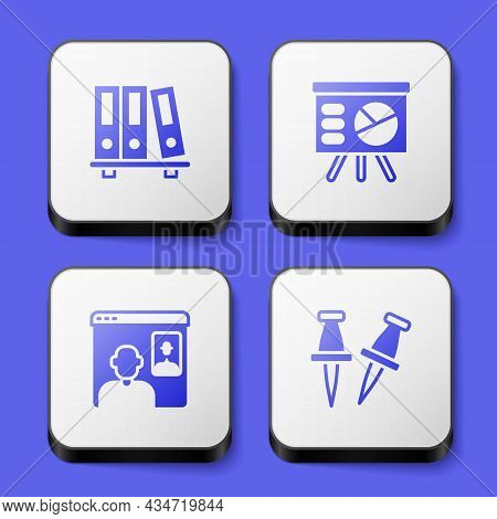 Set Office Folders, Board With Graph, Video Chat Conference And Push Pin Icon. White Square Button.