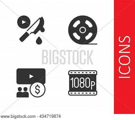 Set Full Hd 1080p, Thriller Movie, Cinema Auditorium With Screen And Film Reel Icon. Vector