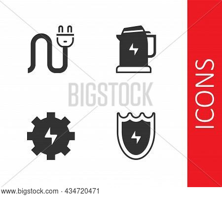 Set Lightning And Shield, Electric Plug, Gear Lightning And Kettle Icon. Vector