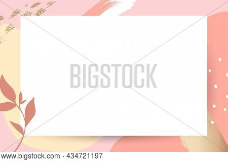 Pastel pink Memphis frame with white background