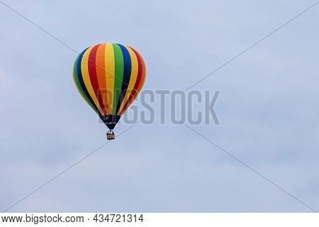Colorful Hot Air Balloon And Blue Sky In Early Evening