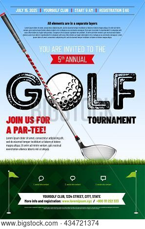 Golf Tournament Poster Template With Golf Club, Grass And Copy Space For Your Text - Vector Illustra