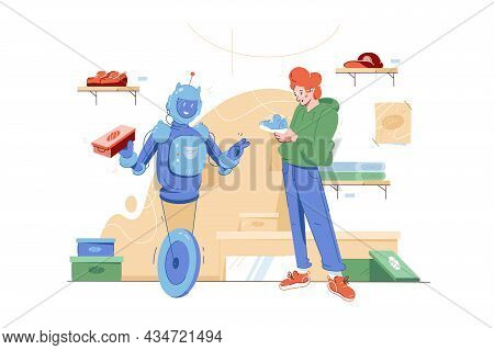 Robot Help In Choosing Shoes Vector Illustration. Robot Providing Customer Assistance Flat Style. Ar