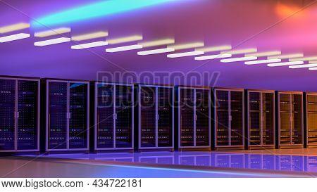 Server. Server Room Data Center. Backup, Mining, Hosting, Mainframe, Farm And Computer Rack With Sto