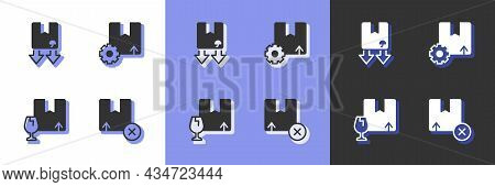 Set Carton Cardboard Box, Cardboard With Traffic Symbol, Package Fragile Content And Gear Package Ic