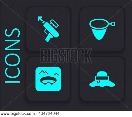 Set Fisherman Hat, Fishing Harpoon, Net And Winter Fishing Icon. Black Square Button. Vector