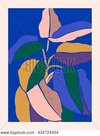 Tropical Ficus Leaves In A Minimalist Trendy Style. Silhouette Of A Plant In A Contemporary Style. V