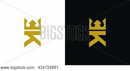 Modern And Unique Letter K Initial King Logo