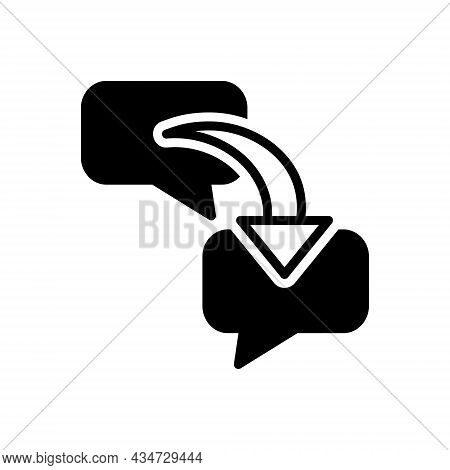 Black Solid Icon For Respond Chat Bubble Message Response Repercussion Acknowledge Answer Communicat