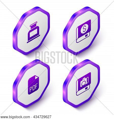Set Isometric Inkwell, Financial Book, Pdf File Document And Photo Album Gallery Icon. Purple Hexago