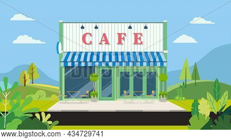 Facade Vintage Cafe With Natural Landscape.vector Illustration.shop Store With Street In Park.flat M