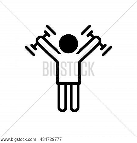 Black Solid Icon For Strengthen Make-more-forceful Bolster Arm Strong Muscular Strength Powerful Sta