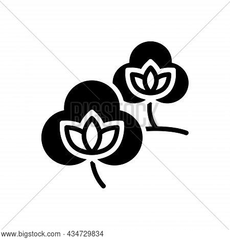 Black Solid Icon For Cotton Fabric Natural Bud Material Organic Textile Cloth Flower