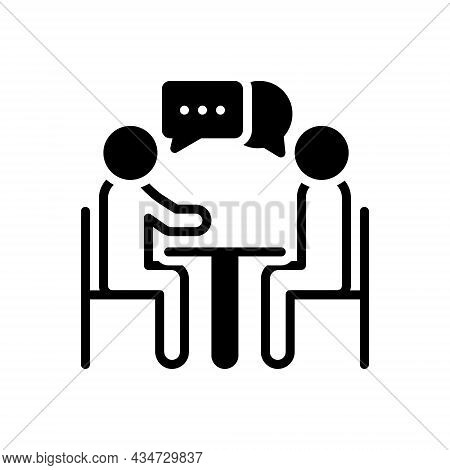 Black Solid Icon For Discussion Conversation Debate Dialogue Discourse Meeting Commune Discussion Ch