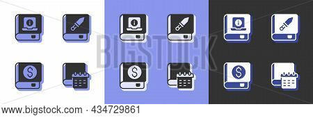 Set Daily Paper Notepad, User Manual, Financial Book And Book About Weapon Icon. Vector