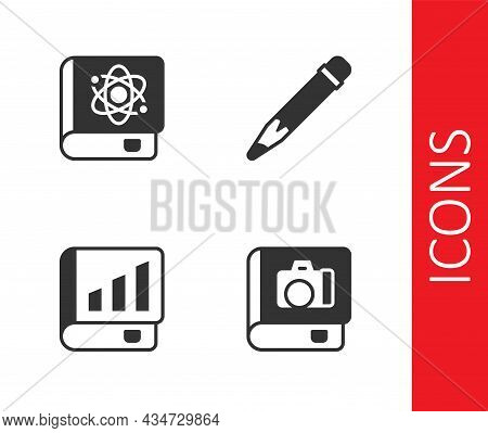 Set Photo Album Gallery, Book About Physics, Financial Book And Pencil With Eraser Icon. Vector
