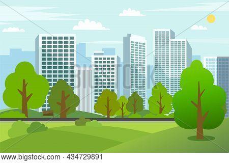 Landscape Park Trees With Cityscape.public Park In Urban City.building In Green Garden.spring Scene