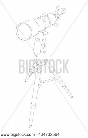 Contour Of An Amateur Telescope Isolated On A White Background. Vector Illustration