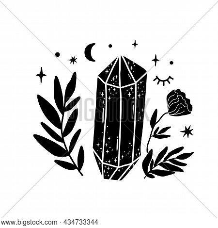 Spirituality Crystal Logo. Moon Flower. Black Graphic Magical Stone. Spiritual Stone Illustration. V