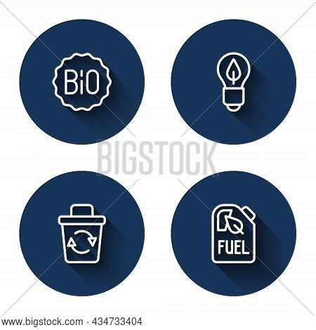 Set Line Banner For Bio, Light Bulb With Leaf, Recycle Bin And Bio Fuel Canister With Long Shadow. B