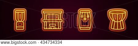 Set Line African Djembe Drum, Piano, Conga Drums And Darbuka. Glowing Neon Icon. Vector