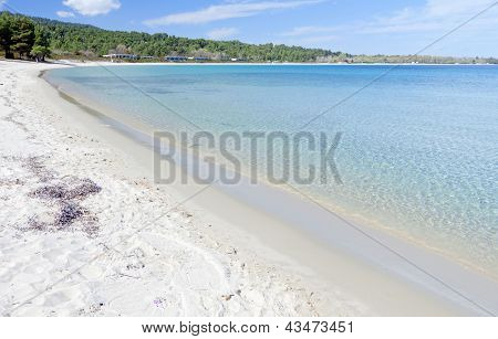 Koursaros beach and summer resort at Kassandra of Halkidiki peninsula in Greece poster