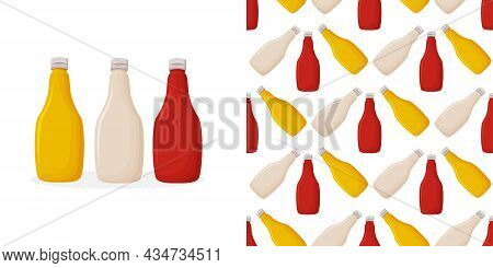 Plastic Bottles Sauce Of Tomato Ketchup, Mayonnaise And Mustard In Seamless Pattern.