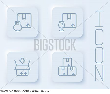 Set Line Carton Cardboard Box, Package With Fragile Content, And . White Square Button. Vector
